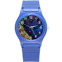 Peacock Feather Retina Mac Round Plastic Sport Watch (s)