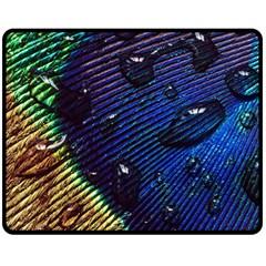 Peacock Feather Retina Mac Double Sided Fleece Blanket (medium)