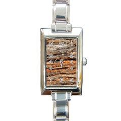 Natural Wood Texture Rectangle Italian Charm Watch