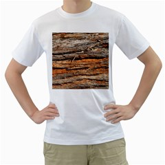 Natural Wood Texture Men s T Shirt (white) (two Sided)