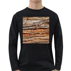 Natural Wood Texture Long Sleeve Dark T Shirts