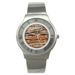 Natural Wood Texture Stainless Steel Watch
