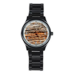 Natural Wood Texture Stainless Steel Round Watch