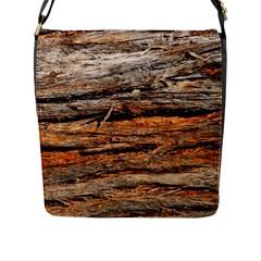 Natural Wood Texture Flap Messenger Bag (l)