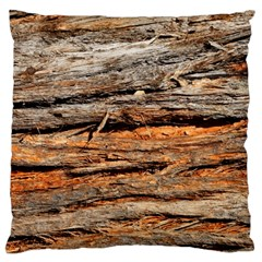 Natural Wood Texture Large Flano Cushion Case (one Side)