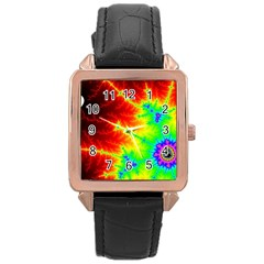 Misc Fractals Rose Gold Leather Watch