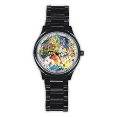 Multicolor Anime Colors Colorful Stainless Steel Round Watch