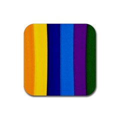 Paper Rainbow Colorful Colors Rubber Coaster (square)