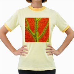 Nature Leaves Women s Fitted Ringer T Shirts