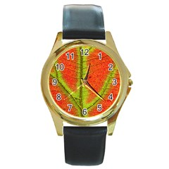 Nature Leaves Round Gold Metal Watch