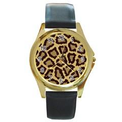 Leopard Round Gold Metal Watch