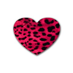Leopard Skin Rubber Coaster (heart)