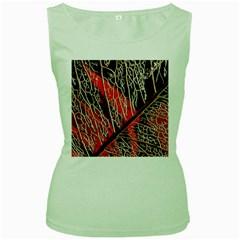 Leaf Pattern Women s Green Tank Top