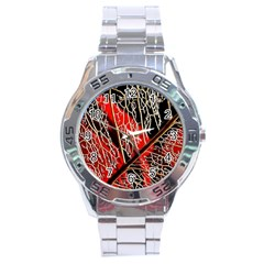 Leaf Pattern Stainless Steel Analogue Watch