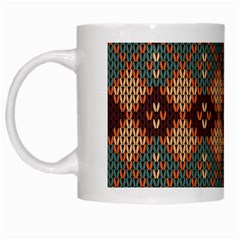 Knitted Pattern White Mugs
