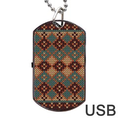 Knitted Pattern Dog Tag Usb Flash (one Side)
