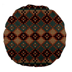 Knitted Pattern Large 18  Premium Round Cushions