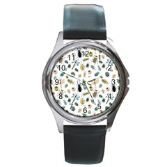 Insect Animal Pattern Round Metal Watch