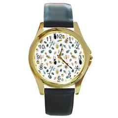 Insect Animal Pattern Round Gold Metal Watch