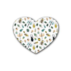Insect Animal Pattern Rubber Coaster (heart)