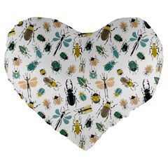 Insect Animal Pattern Large 19  Premium Heart Shape Cushions