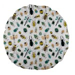 Insect Animal Pattern Large 18  Premium Flano Round Cushions Back