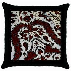Javanese Batik Throw Pillow Case (black)