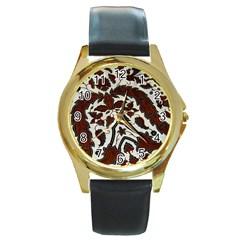 Javanese Batik Round Gold Metal Watch