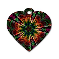 Kaleidoscope Patterns Colors Dog Tag Heart (one Side)