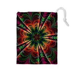 Kaleidoscope Patterns Colors Drawstring Pouches (large)