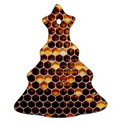 Honey Honeycomb Pattern Christmas Tree Ornament (two Sides)