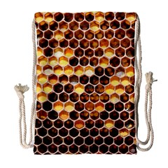Honey Honeycomb Pattern Drawstring Bag (large)
