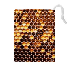 Honey Honeycomb Pattern Drawstring Pouches (extra Large)