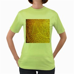 Gold Pattern Women s Green T Shirt