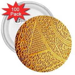 Gold Pattern 3  Buttons (100 Pack)
