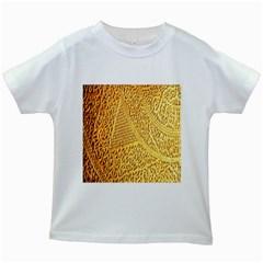 Gold Pattern Kids White T Shirts