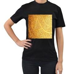 Gold Pattern Women s T Shirt (black) (two Sided)
