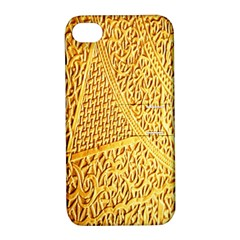 Gold Pattern Apple Iphone 4/4s Hardshell Case With Stand