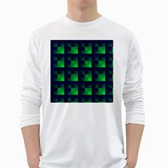 Fractal White Long Sleeve T Shirts