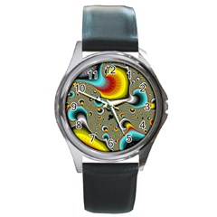 Fractals Random Bluray Round Metal Watch