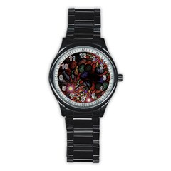 Fractal Swirls Stainless Steel Round Watch