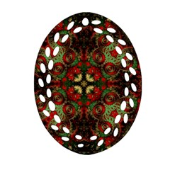 Fractal Kaleidoscope Oval Filigree Ornament (two Sides)