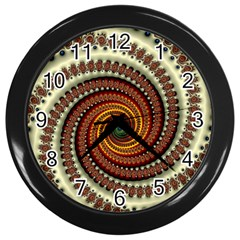 Fractal Pattern Wall Clocks (black)