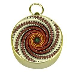 Fractal Pattern Gold Compasses