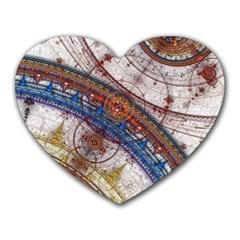 Fractal Circles Heart Mousepads