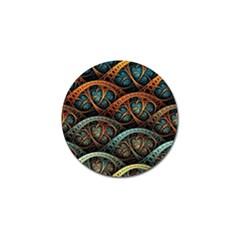 Fractal Art Pattern Flower Art Background Clored Golf Ball Marker (10 Pack)