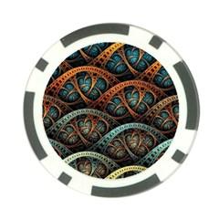 Fractal Art Pattern Flower Art Background Clored Poker Chip Card Guard