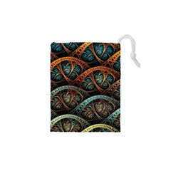 Fractal Art Pattern Flower Art Background Clored Drawstring Pouches (xs)