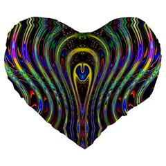 Curves Color Abstract Large 19  Premium Heart Shape Cushions