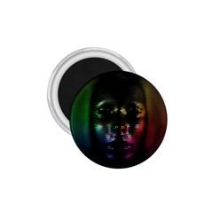 Digital Art Psychedelic Face Skull Color 1 75  Magnets